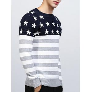 Crew Neck Star and Stripe Splicing Knitting Sweater - GRAY 2XL