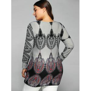 Round Collar Ethnic Print T-Shirt - LIGHT GRAY ONE SIZE