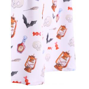 Halter Bat Skulls Print Vintage Tea Dress -