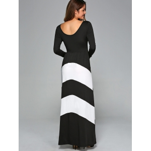 Zigzag Prom Party Maxi Dress with Sleeves - WHITE AND BLACK S