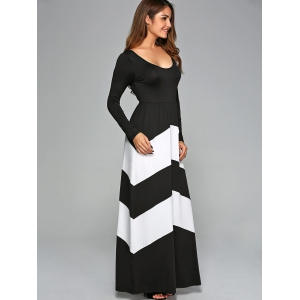 Zigzag Prom Party Maxi Dress with Sleeves -