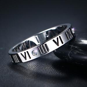 Engraved Roman Numerals Rhinestone Ring - SILVER 8