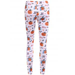 Bat Pumpkin Print Leggings -