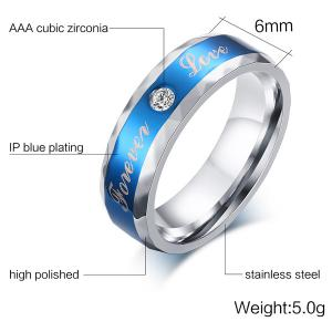 Stainless Steel Rhinestone Toujours Love Ring -