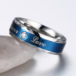Stainless Steel Rhinestone Toujours Love Ring - Bleu 10