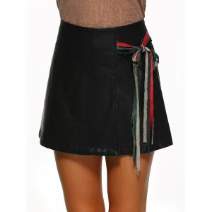 Zipper Flying Tied-Up PU Leather Skirt -
