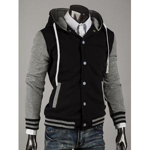 Hooded Color Block Stripe Spliced Varsity Hoodie -