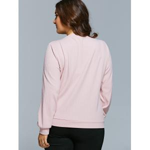 Textured Zipper Design Pullover Sweatshirt - SHALLOW PINK 3XL