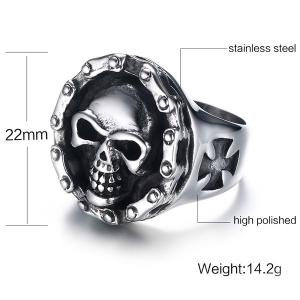Devil Skull Crucifix Engraved Ring - SILVER 11