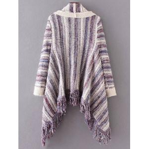 Striped Fringed Cape Cardigan -