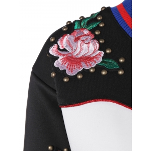 Butterfly Embroidered Studded Sweatshirt -