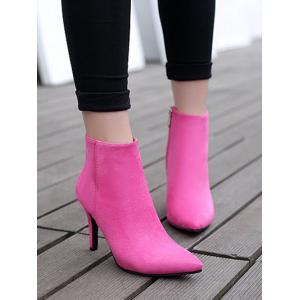 Stiletto Heel Flock Pointed Toe Ankle Boots -