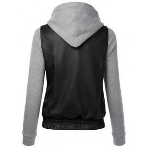 Detachable Hooded PU-Leather Design Zip-Up Hoodie -