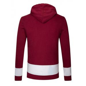 Kangaroo Pocket Star Embroidered Drawstring Pullover Hoodie - WINE RED 2XL