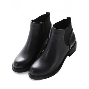 PU Leather Elastic Round Toe Ankle Boots - BLACK 37