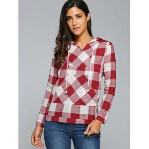 Kangaroo Pocket  Plaid Pattern Hoodie - RED S