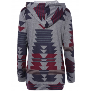 Front Pocket Printed Pullover Hoodie -