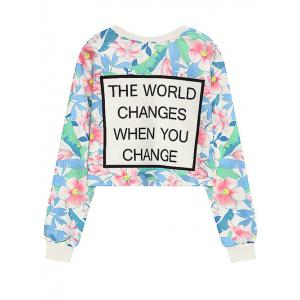 Crew Neck Floral Letter Print Cropped Sweatshirt -