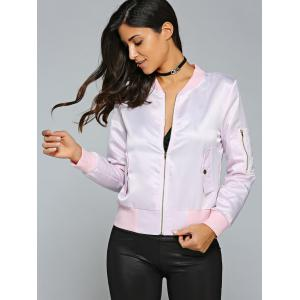 Satin Zip Up Bomber Jacket - PINK M