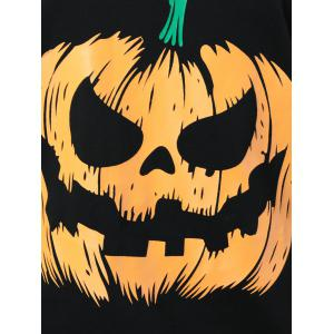 Skew Collar Pumpkin Lamp Print Sweatshirt - YELLOW AND BLACK XL