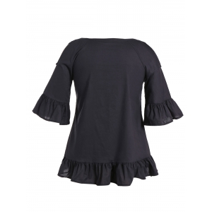 Flounce Cold Shoulder Plus Size Flare Sleeve Blouse - BLACK 5XL