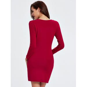 Short Tight Long Sleeve Bodycon Cocktail Dress -
