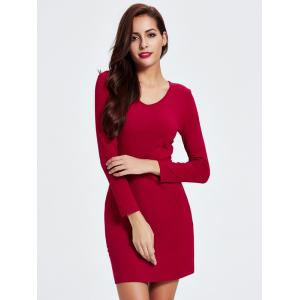 Short Tight Long Sleeve Bodycon Cocktail Dress - RED L