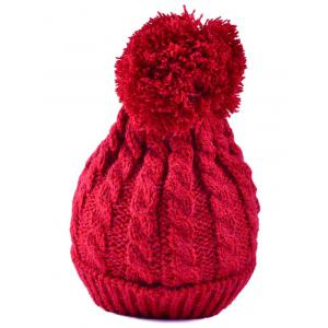 Winter Hemp Flowers Flanging Knit Hat - RED