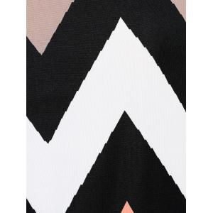 Printed Zig Zag V Neck T- Shirt - COLORMIX L