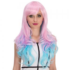 Long Side Bang Wavy Bright Coloured Cosplay Synthetic Wig - COLORMIX