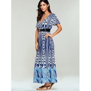 Bohemian Print Belted Maxi Dress -