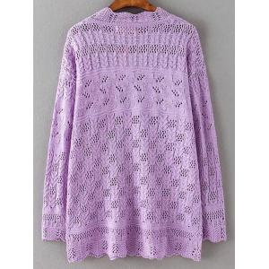 Cut Out Loose Casual Sweater - PURPLE 5XL