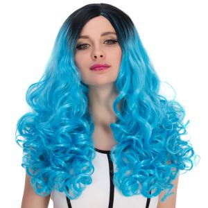 Long Side Parting Fluffy Wavy Bright Coloured Cosplay Synthetic Wig -