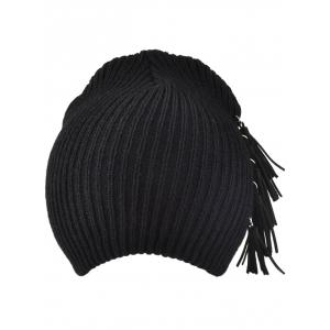 Winter Tassels Pendant Side Knit Hat - BLACK