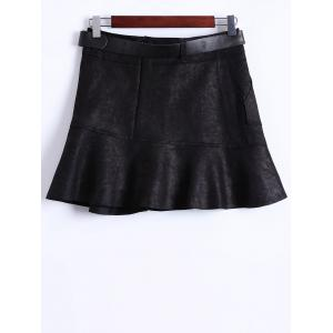 Suede Belted Mini Skirt -