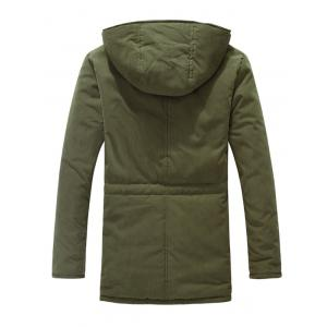 Drawstring Zipper Button Hooded Padded Coat -