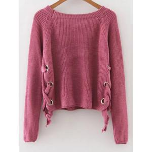 Lace-Up Casual Sweater - PURPLE M