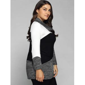 Plus Size Cowl Neck Heathered Blouse - WHITE AND BLACK XL