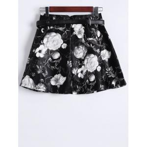 Floral Print Faux Leather Skirt -