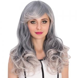 Long Side Bang Wavy Gray Ombre Cosplay Synthetic Wig - COLORMIX