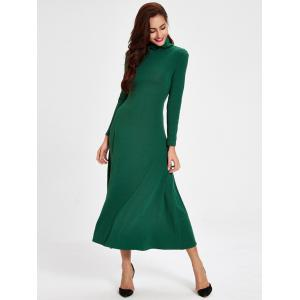 Casual Turtleneck Hollow out Swing Dress -