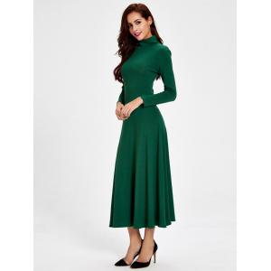 Casual Turtleneck Hollow out Swing Dress - GREEN L
