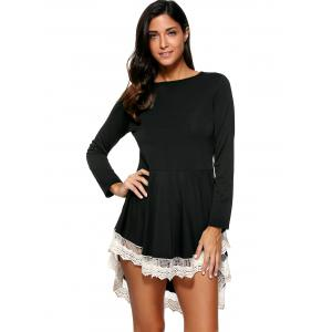 Layered Lace Splicing Dress - BLACK M