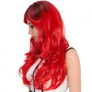Long Side Bang Wavy Red Gradient Cosplay Synthetic Wig - COLORMIX