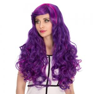 Long Side Bang Shaggy Wavy Purple Ombre Cosplay Synthetic Wig -