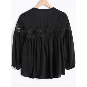 High Low Lace Splicing Chiffon Blouse -