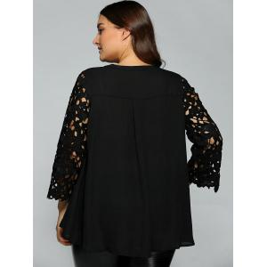 Plus Size Lace Sleeve Cut Out Blouse -