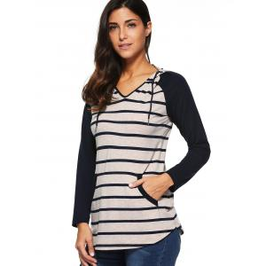 Striped Raglan Sleeve T-Shirt -