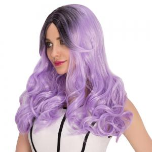 Long Side Bang Wavy Purple Ombre Shaggy Cosplay Synthetic Wig -
