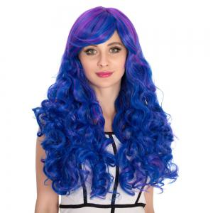 Long Side Bang Wavy Blue Ombre Shaggy Cosplay Synthetic Wig - COLORMIX